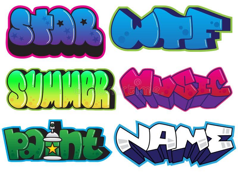 Sistema de la pintada Verano, estrella, wtf, música, pintura, palabras del nombre Etiquetas engomadas de la pintura de espray del stock de ilustración