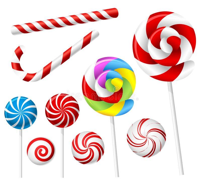 Sistema de la piruleta y del caramelo stock de ilustración