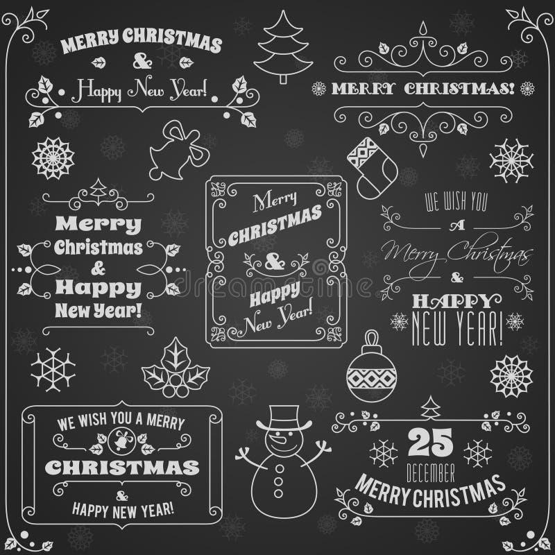 Sistema de la pizarra de las etiquetas de la Navidad stock de ilustración