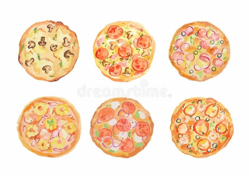Sistema de la pizza de la acuarela ilustración del vector