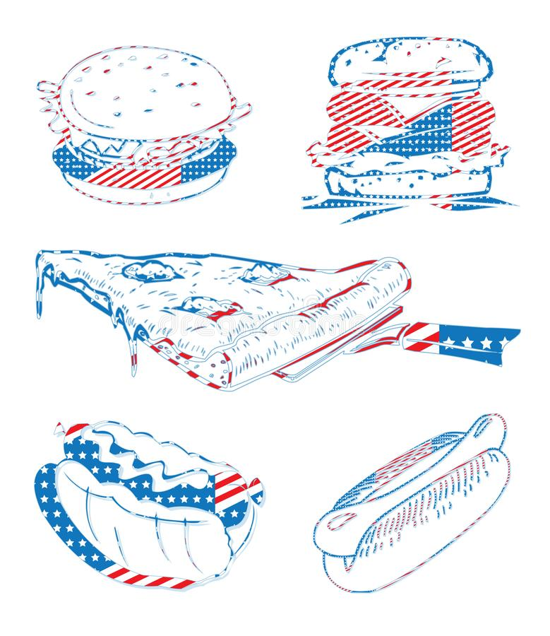 Sistema de la pizza del perrito caliente de la hamburguesa de la celebración de días festivos de la bandera de los E.E.U.U. Améri foto de archivo