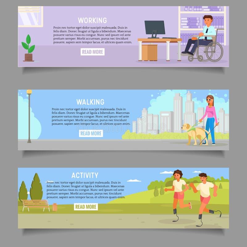 Sistema de la plantilla de la bandera de la web del vector de las personas discapacitadas stock de ilustración