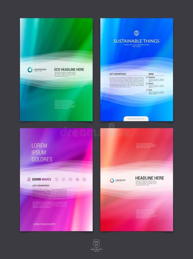 Sistema de la plantilla de la disposición de diseño del folleto, del aviador y de la cubierta del negocio stock de ilustración