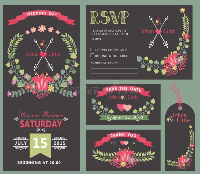 Sistema de la plantilla de la invitación de la boda Decoración floral de la guirnalda fotos de archivo