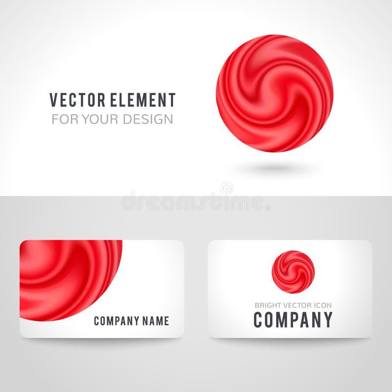 Sistema de la plantilla de la tarjeta de visita, círculo rojo abstracto ilustración del vector