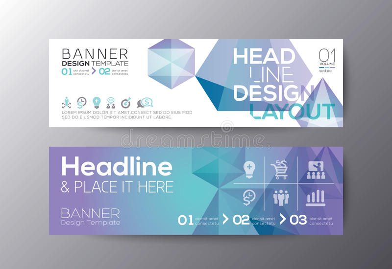 Sistema de la plantilla de las banderas del web del diseño moderno stock de ilustración
