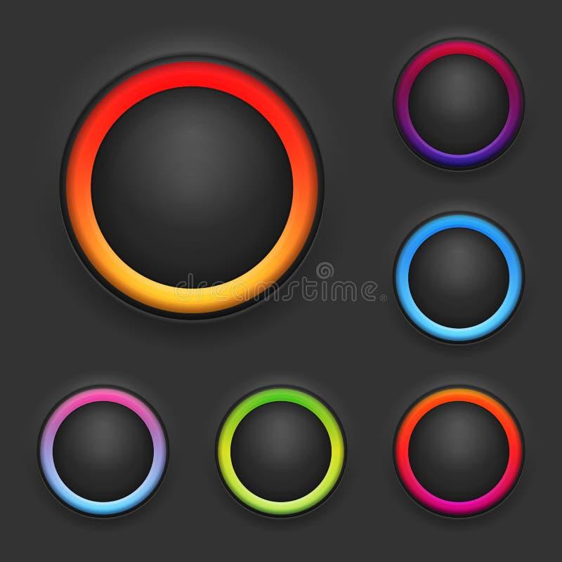 Sistema de la plantilla del botón que brilla intensamente libre illustration