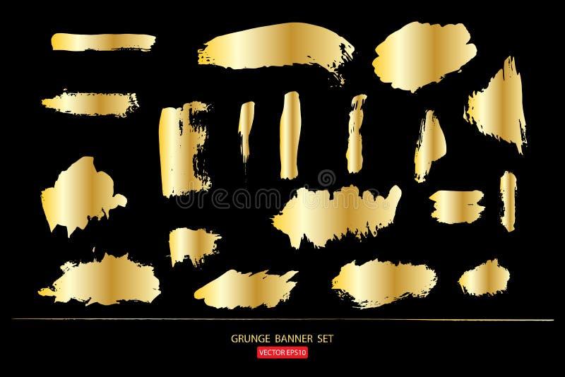 Sistema de la plantilla del oro de los fondos abstractos de las banderas del grunge para el sistema de la plantilla del promotion libre illustration