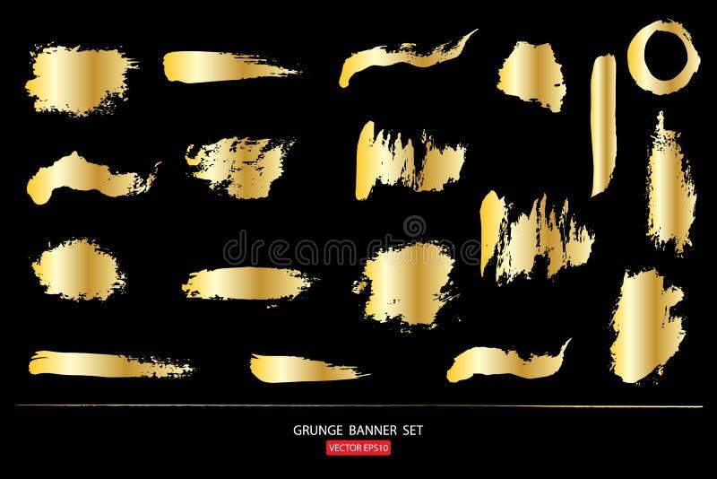 Sistema de la plantilla del oro de los fondos abstractos de las banderas del grunge para el sistema de la plantilla del promotion ilustración del vector
