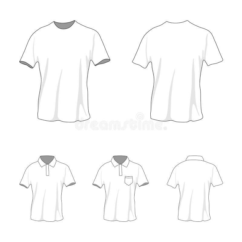 Sistema de la plantilla del polo de la camiseta, frente y visión trasera foto de archivo libre de regalías