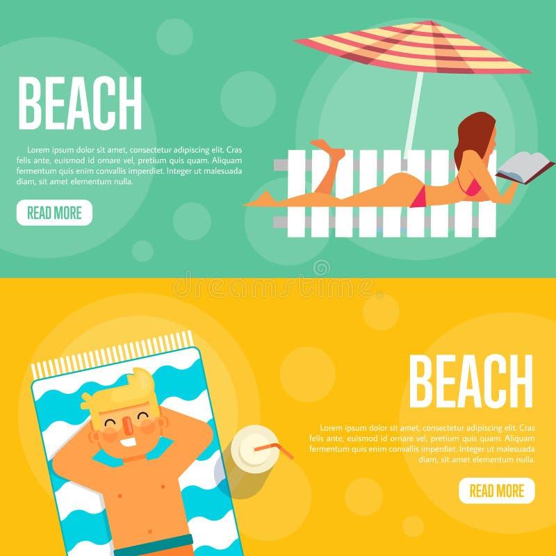 Sistema de la plantilla del sitio web de la playa Banderas horizontales stock de ilustración