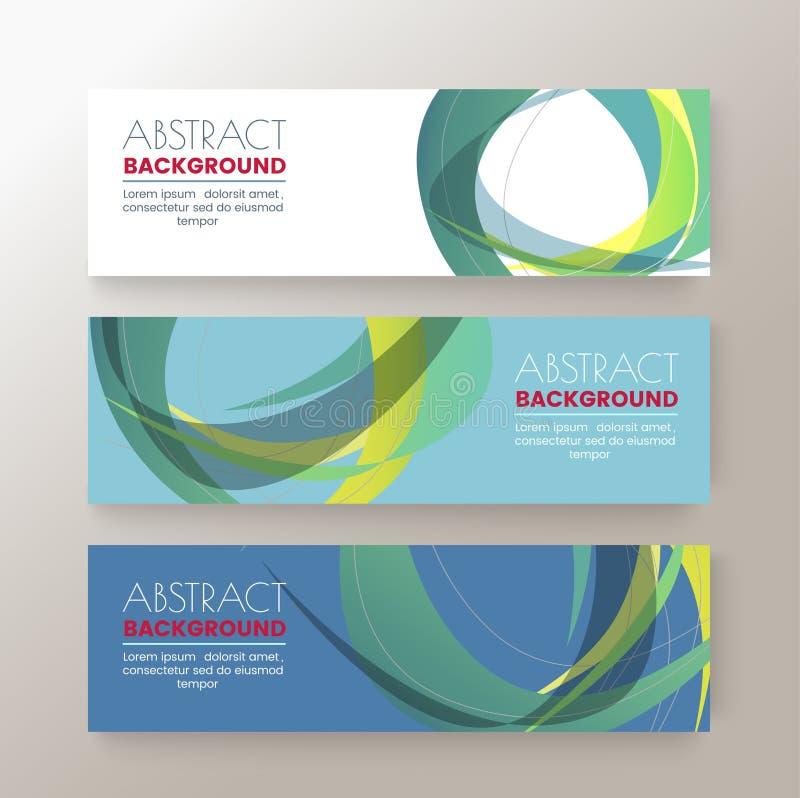 Sistema de la plantilla de las banderas del diseño moderno con el fondo colorido abstracto del modelo de la forma del círculo stock de ilustración