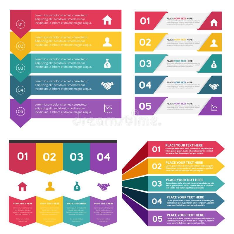Sistema de la plantilla de los elementos de Infographic Para la presentación del negocio, plantilla de la página web stock de ilustración