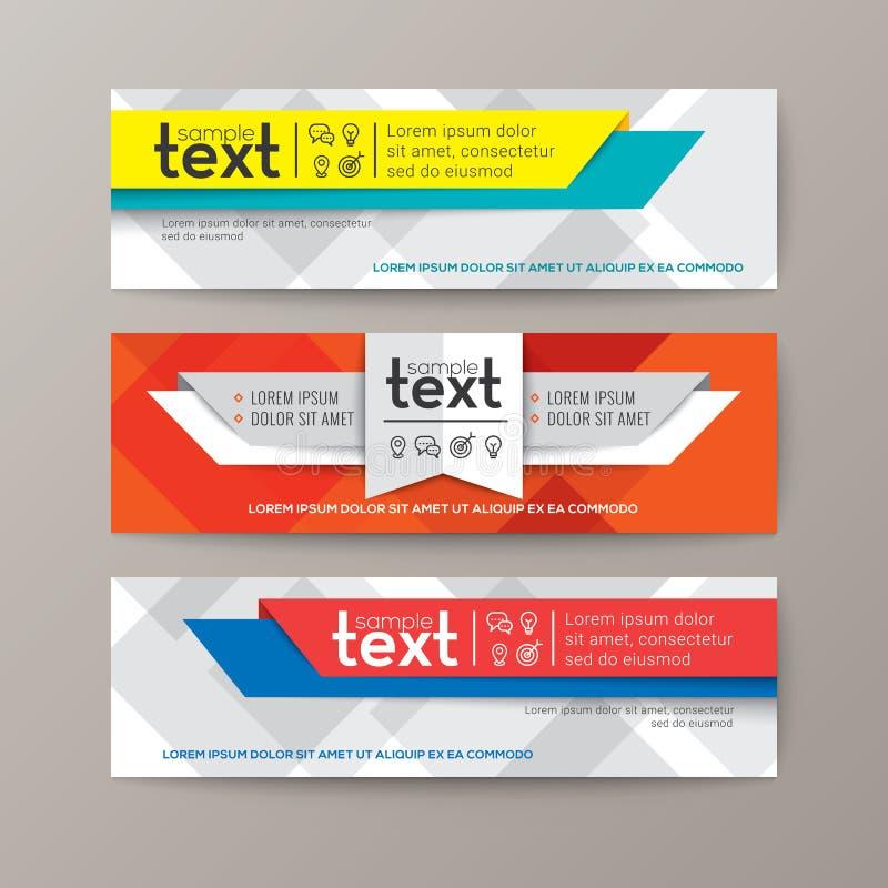 Sistema de la plantilla moderna de las banderas del web con el fondo abstracto colorido stock de ilustración