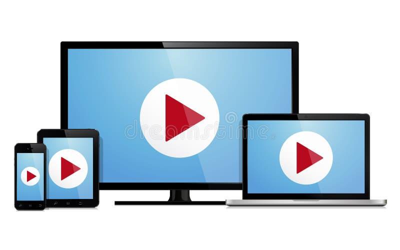 Sistema de la plantilla moderna de los dispositivos de la tecnología para la presentación responsiva del diseño stock de ilustración