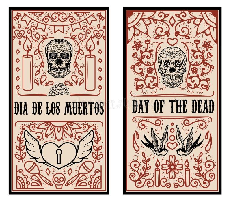 Sistema de la plantilla muerta de la bandera del día Cráneos del azúcar libre illustration