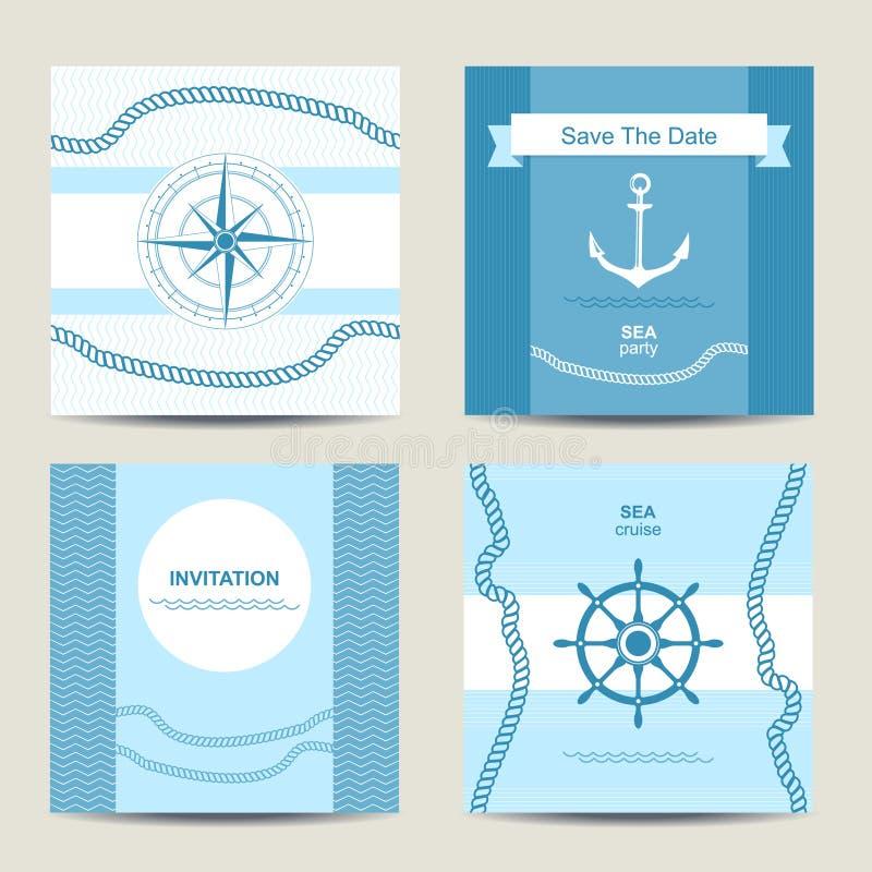 Sistema de la plantilla náutica de la tarjeta de la invitación cuatro ilustración del vector