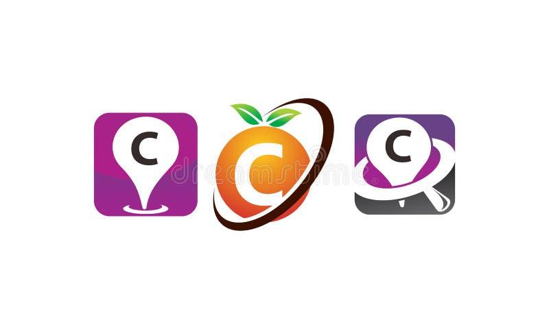Sistema De La Plantilla De Pin Location Fruit C Ilustración del ...