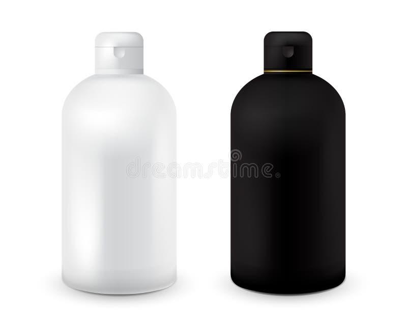 Sistema de la plantilla plástica blanco y negro de la botella para el champú, gel de la ducha, loción, leche del cuerpo, espuma d stock de ilustración
