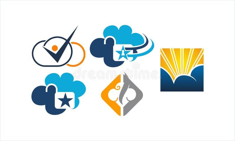 Sistema de la plantilla de la solución de la nube stock de ilustración