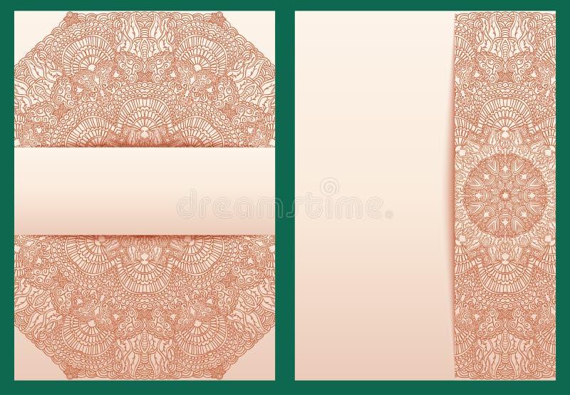 Sistema de la plantilla tribal para las invitaciones del diseño o las tarjetas de felicitación La alheña tradicional florece elem libre illustration