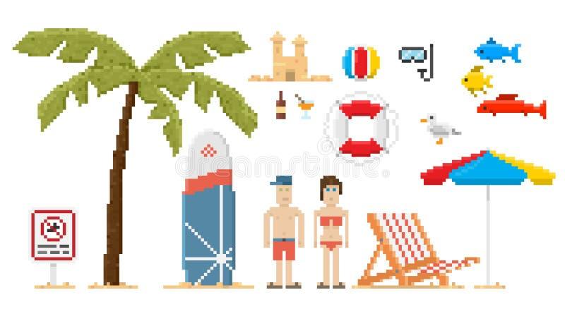 Sistema de la playa del estilo del arte del pixel ilustración del vector