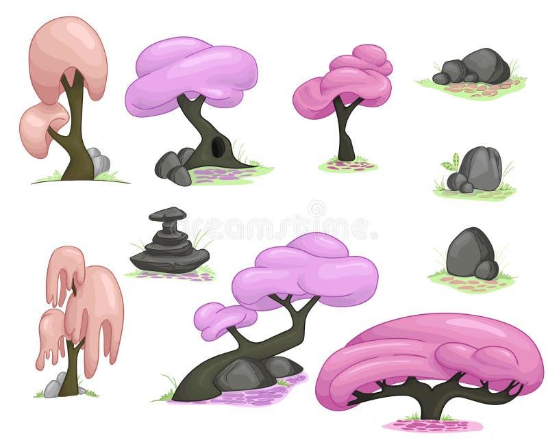 Sistema de la primavera de árboles de la historieta libre illustration