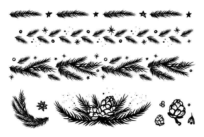 Sistema de la rama y de la frontera del abeto stock de ilustración