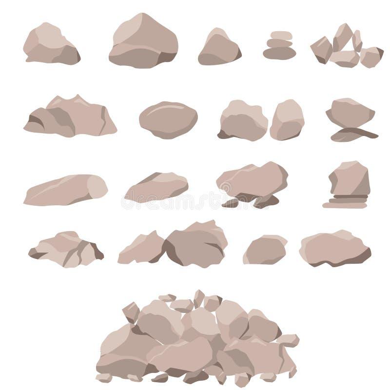 Sistema de la roca de piedras y de cantos rodados grandes ilustración del vector