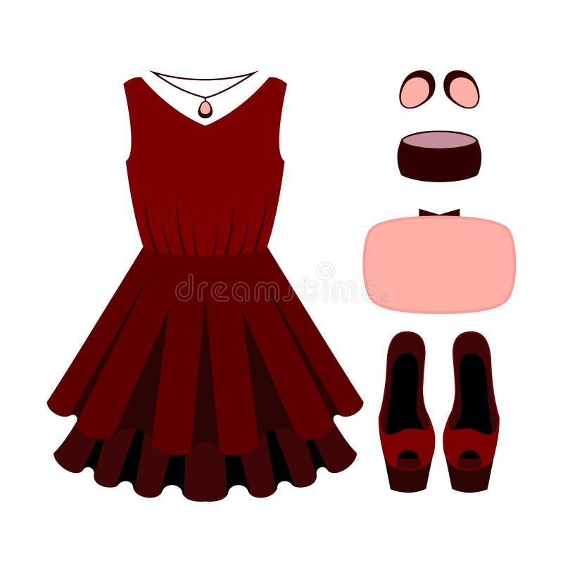 Sistema de la ropa de las mujeres de moda con el vestido ilustración del vector