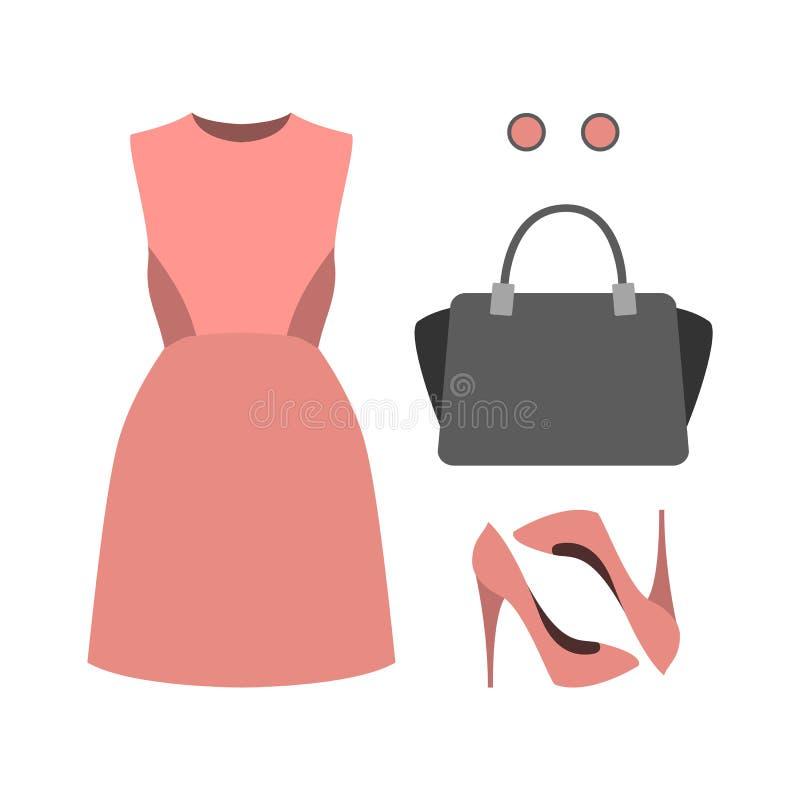 Sistema de la ropa de las mujeres de moda con el vestido y los accesorios rosados W ilustración del vector