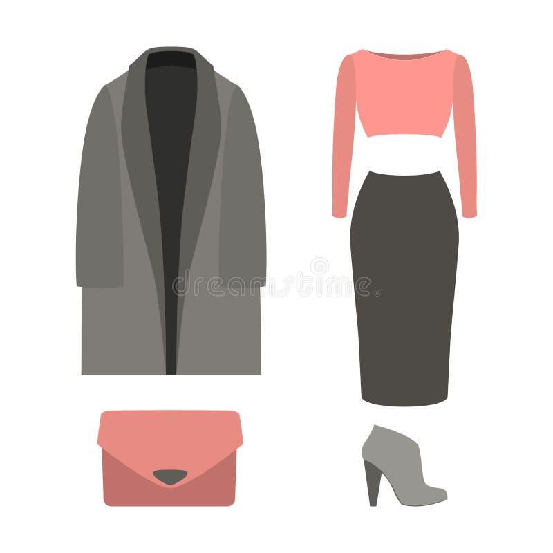 Sistema de la ropa de las mujeres de moda con la capa, top, falda ilustración del vector