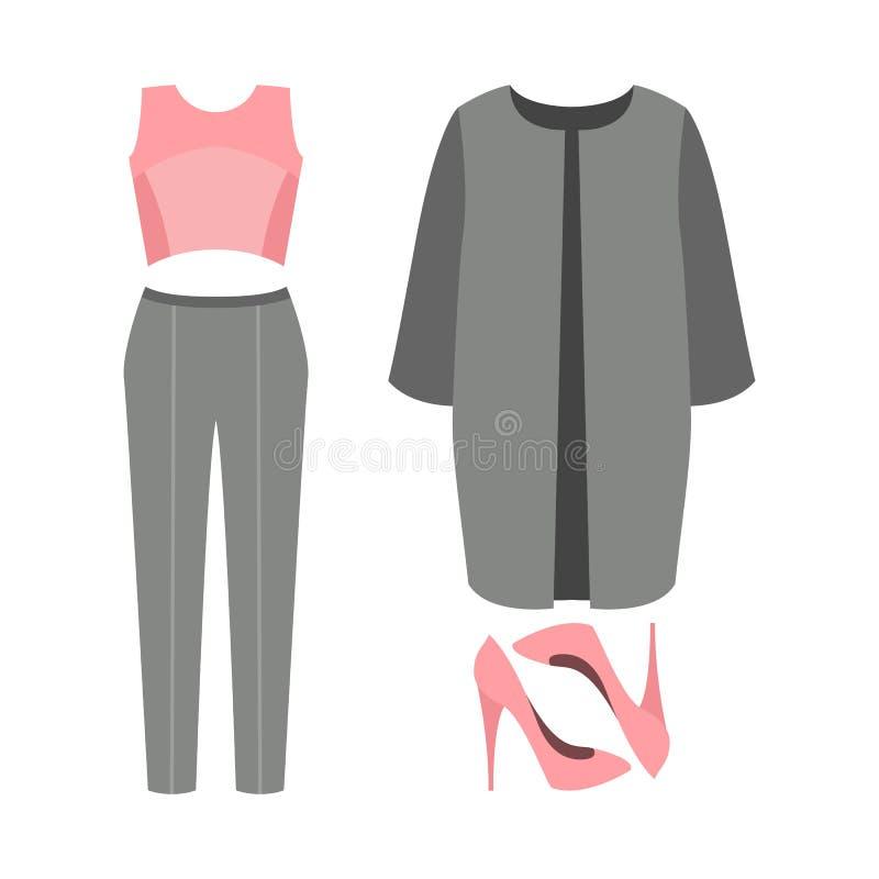 Sistema de la ropa de las mujeres de moda Equipo de la capa de la mujer, bragas, t ilustración del vector