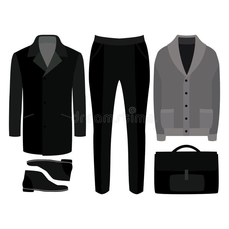 Sistema de la ropa de los hombres de moda Equipo de la capa, de la rebeca, de los pantalones y de los accesorios del hombre Guard stock de ilustración