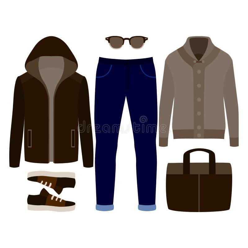 Sistema de la ropa de los hombres de moda Equipo de la chaqueta, de la rebeca, de los pantalones y de los accesorios del hombre G stock de ilustración