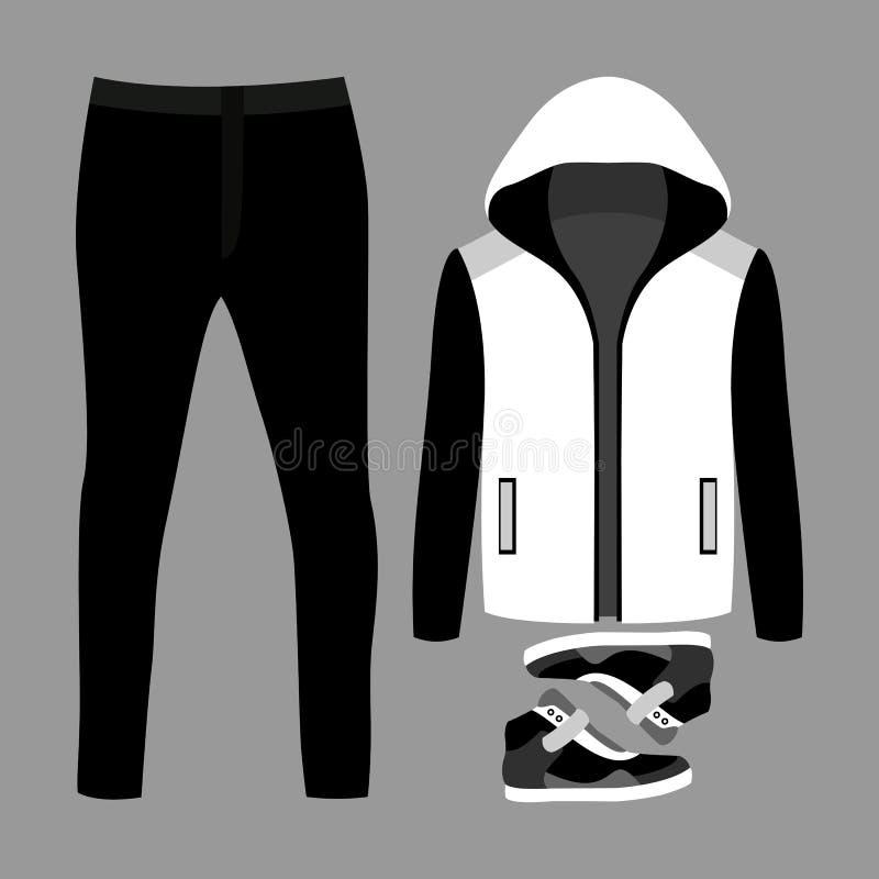 Sistema de la ropa de los hombres de moda Equipo de la chaqueta, de los pantalones y de las zapatillas de deporte del hombre ilustración del vector