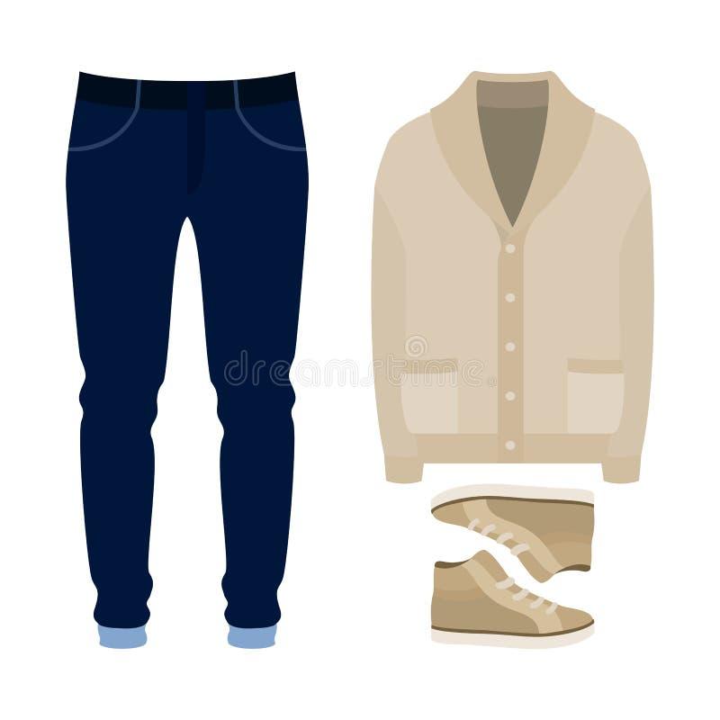 Sistema de la ropa de los hombres de moda Equipo de la rebeca, de los pantalones y de los accesorios del hombre Guardarropa de lo libre illustration