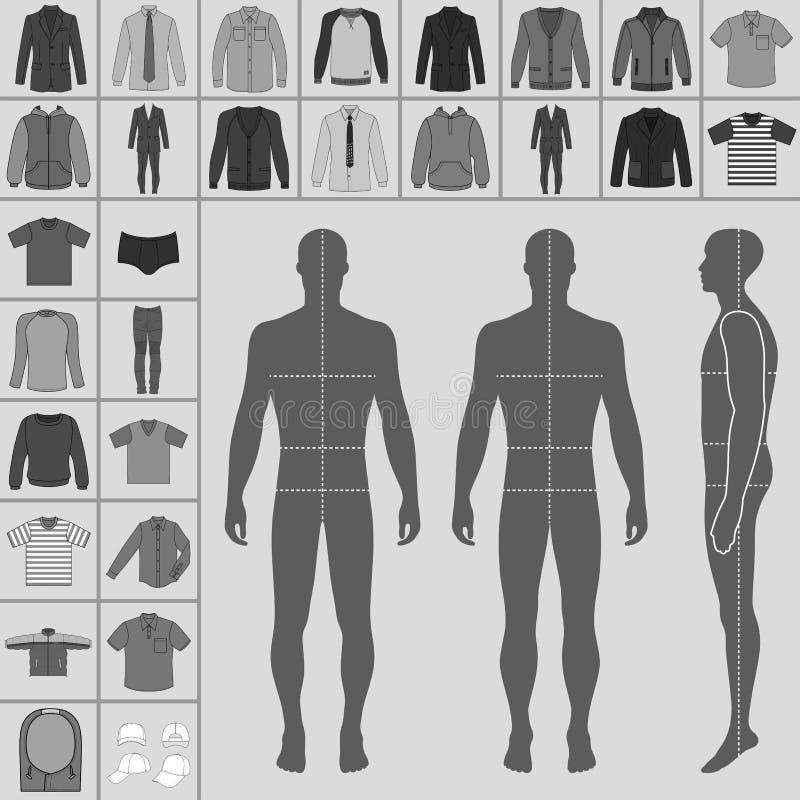 Sistema de la ropa del ` s de los hombres stock de ilustración