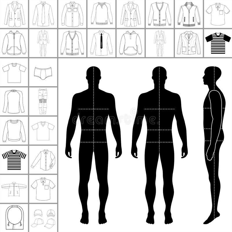 Sistema de la ropa del ` s de los hombres ilustración del vector