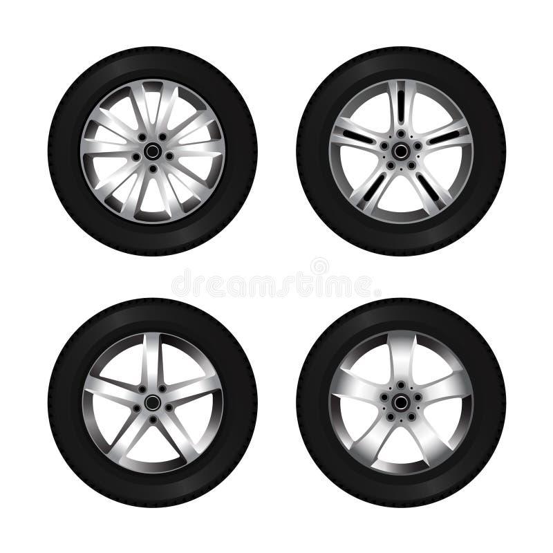Sistema de la rueda y del neumático para el diseño del transporte o del servicio Disco brillante del coche ilustración del vector