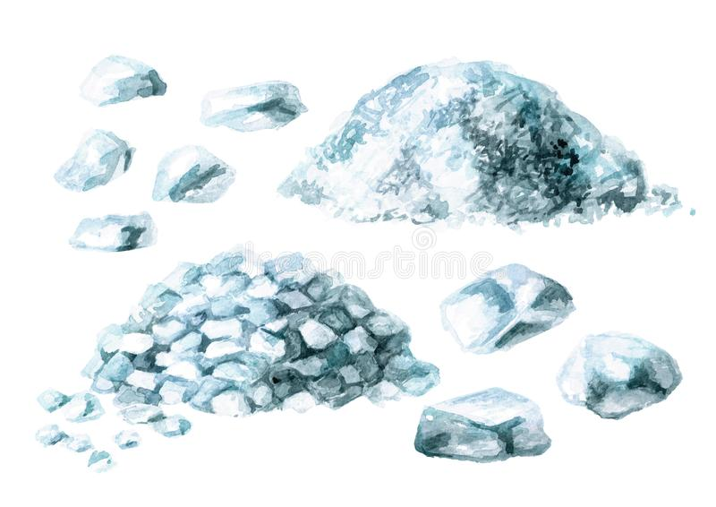 Sistema de la sal del mar Ejemplo dibujado mano de la acuarela, aislado en el fondo blanco libre illustration