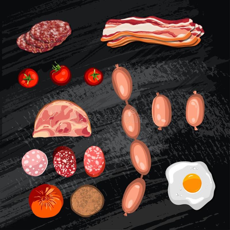 Sistema de la salchicha tocino Salami Ahumado hervido Rebanadas objetos en un fondo del tablero de tiza, ejemplo del vector stock de ilustración