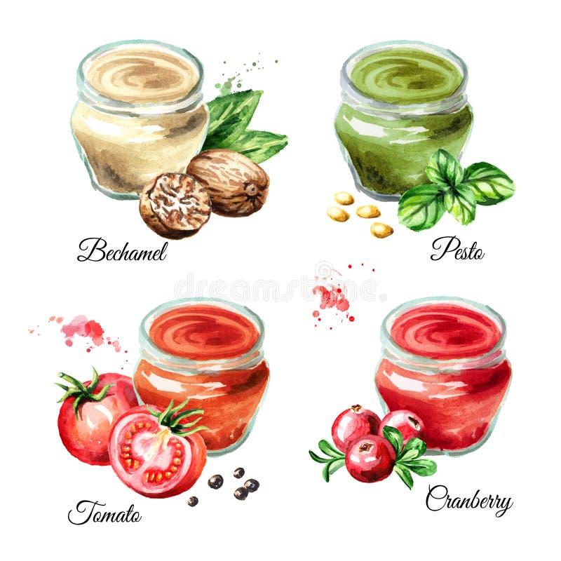 Sistema 1 de la salsa Bechamel, pesto, tomate, arándano Ejemplo dibujado mano de la acuarela aislado en el fondo blanco ilustración del vector