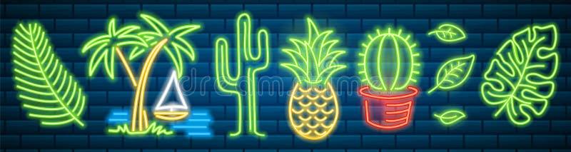 Sistema de la señal de neón de la moda Cactus y piña, plantas tropicales, palmeras y hojas Letrero brillante de la noche, brillan ilustración del vector