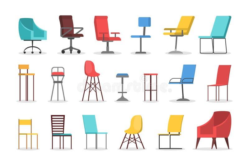 Sistema de la silla Colección de muebles cómodos, asiento moderno ilustración del vector