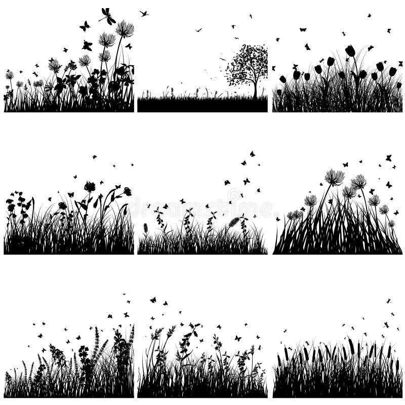 Sistema De La Silueta De La Hierba Ilustración del Vector