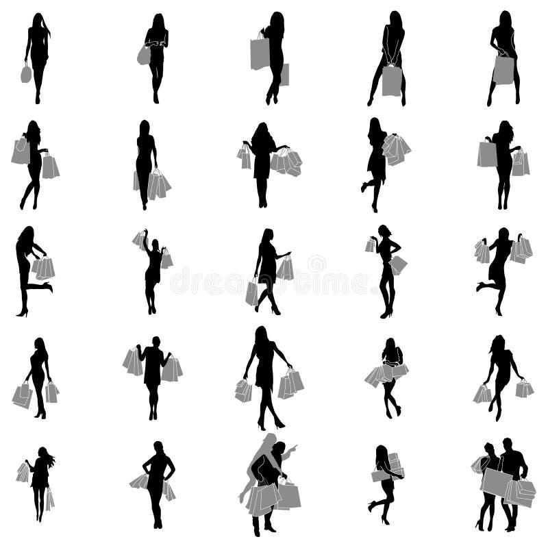 Sistema de la silueta de las mujeres que hace compras ilustración del vector
