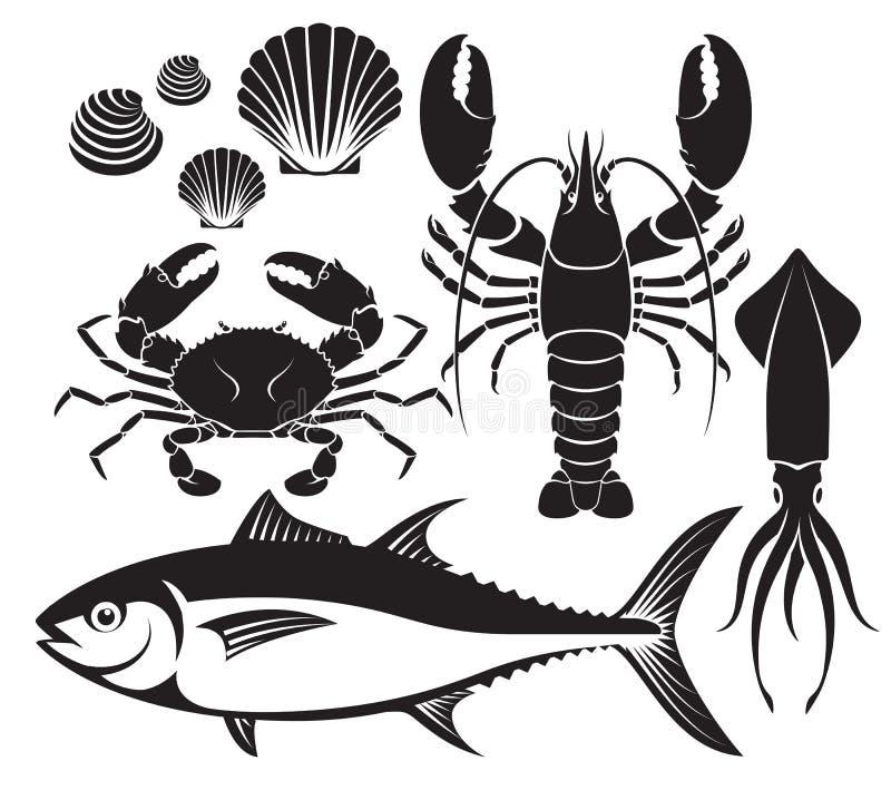 Sistema de la silueta de los mariscos Gamba de la langosta, cangrejo, pescado de atún, shellfis libre illustration