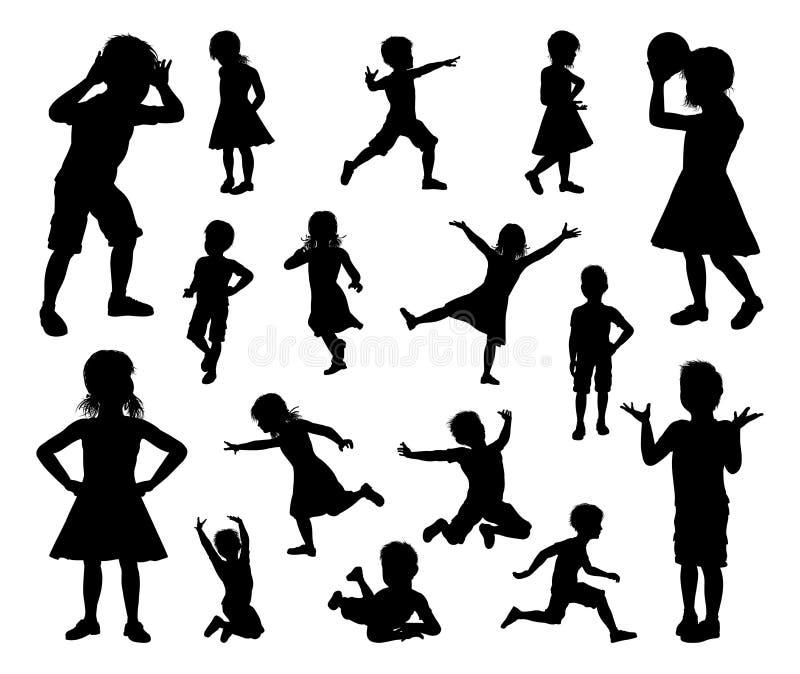 Sistema de la silueta de los niños de los niños stock de ilustración