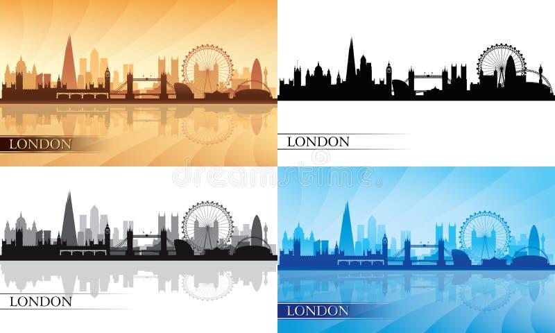 Sistema de la silueta del horizonte de la ciudad de Londres libre illustration